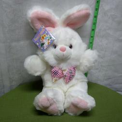 EASTER BUNNY plush pink & white rabbit NWT toy w/ bow-tie Ki