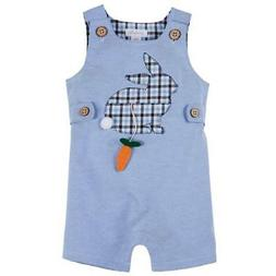 Mud Pie Easter Bunny Pocket Oxford Shortall  0-3M 3-6M 6-9M