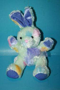 """Dan Dee Easter Bunny Rabbit 8"""" Small Purple Ears Blue Multic"""