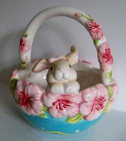 """EASTER Bunny Rabbit Basket 6"""" Candy Bowl / Candy Dish NEW w/"""