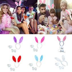 Easter Bunny Rabbit Costume Set Ears Headband Bow Tie Tail S