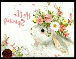 Easter Bunny Rabbit Flowers Ears HELLO SPRING - SMALL - East