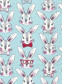 Easter Bunny Rabbit Glasses Bow Tie Aqua 100% Cotton Scrap C