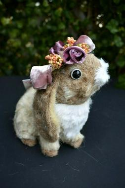 easter bunny rabbit lop garland of flower