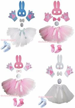 Easter Bunny Rabbit Mask Bow Tail Paw Shoes Skirt 6p Kids Gi