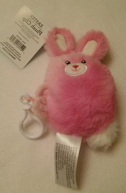 Easter Bunny Rabbit Pink & White Soft Plush Stuffed Belt Cli