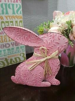 Easter Bunny Rabbit Pink Metal Sign Tabletop Home Decor 8.5""