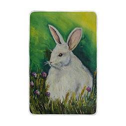 ALAZA Easter Bunny Rabbit Spring Flower Blanket Lightweight