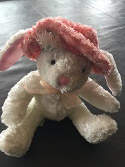 "7"" Easter Bunny Rabbit wearing a Pink Hat Plush by Dan Dee"