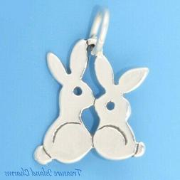 Easter Bunny Rabbits .925 Sterling Silver Charm Bunnies MADE