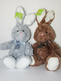 Easter Bunny Rabbits Stuffed Plush Animal 9.5 Inches TWO Bun