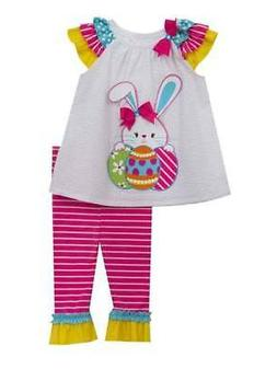 Rare Editions Easter Bunny Seersucker Striped Pants Set  4 5