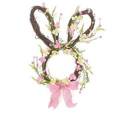 Burton & Burton Easter Bunny Shaped Spring Wreath Pink & Gre