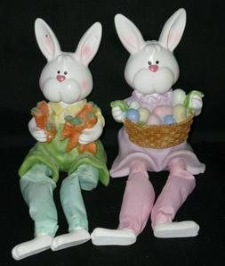 Easter Bunny Shelf Sitters Basket Decoration Colorful Eggs &