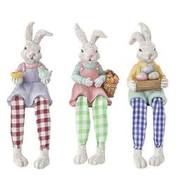 Darice Easter Bunny Shelf Sitters: Resin and Check Fabric, 3