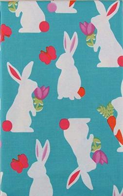 Easter Bunny Silhouettes Vinyl Flannel Back Tablecloth