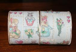 """EASTER BUNNY TRAIL RIBBON, Lot of 2, 2.5"""" x 3 Yd, Cotton C"""