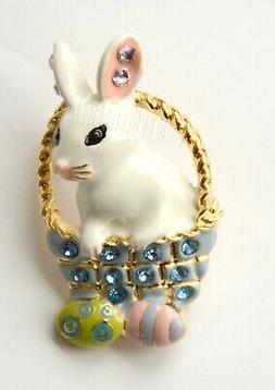 Easter Bunny w Easter Eggs in Basket Pin and / or Pendent in