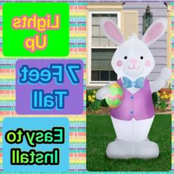 Easter Bunny With Egg Airblown Inflatable Lights Up 7 Feet T