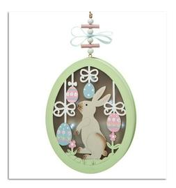 Easter Bunny with Eggs Large Lighted Ornament  - New Oversto