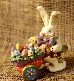 Easter Bunny with Wheel Barrow Eggs & Flowers Figurine - Kur