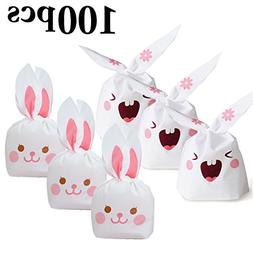 Easter Candy Bags,Coxeer 100Pcs Lovely Long Bunny Rabbit E