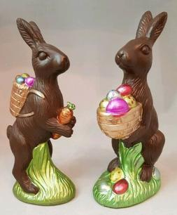 "Easter Chocolate Bunny Set 2 Egg Large Figurine 8"" Resin Spr"