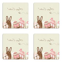 Ambesonne Easter Coaster Set of Four, Pastel Toned Eggs Bird