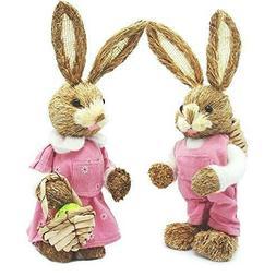 """Easter Decor 16"""" Sisal Bunny Couple Boy and Girl"""