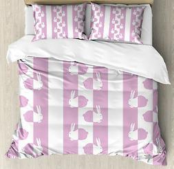 Easter Duvet Cover Set with Pillow Shams Cute Bunny Rabbit K
