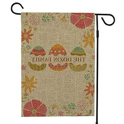 GiftsForYouNow Easter Eggs Personalized Burlap Garden Flag