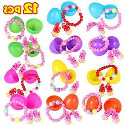 Easter Eggs Prefilled With Bunny Shape Hair Clip-12 Pack Pre