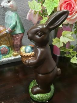 Easter Faux Chocolate Bunny Rabbit  & Basket of Eggs Sculptu