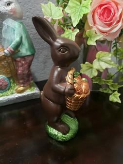 Easter Faux Chocolate Bunny Rabbit  & Carrot Basket Sculptur