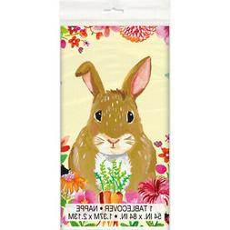 EASTER Floral Bunny PLASTIC TABLE COVER ~ Birthday Party Sup