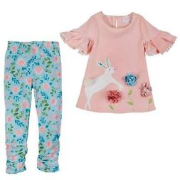 Mud Pie Easter Floral Bunny Tunic & Legging Set  12-18M 24M/