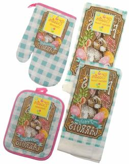 Easter Fresh Carrots Bunny Farms 4 pc kitchen towels pothold