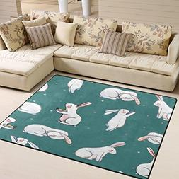 ALAZA Easter Rabbit Bunny Star Watercolor Area Rug Rugs for