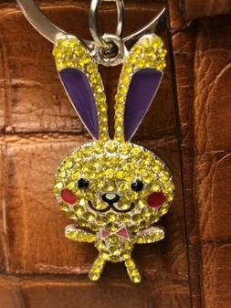 Easter Rhinestone Bunny w/Tall Ears  KeyRing/Purse Jewelry/K