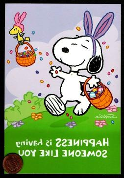 EASTER Snoopy Woodstock Bunny Ears Basket Eggs Grass -  East