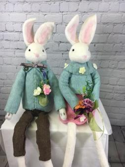 Easter Spring Boiled Wool Bunny Couple Figures Valerie Parr