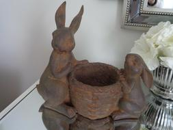 EASTER SPRING Faux Chocolate Bunny Rabbits Candy Eggs Dish B