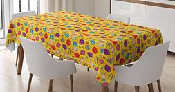 Ambesonne Easter Tablecloth, Funky Colorful Icons with Diffe