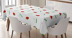Ambesonne Easter Tablecloth, Cute Bunny on Grass and Strawbe