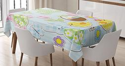 Ambesonne Easter Tablecloth, Nursery Theme Bunnies and Chick