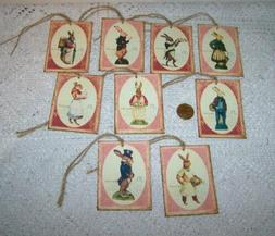 Easter~Vintage~Bunny~Rabbits~Linen Cardstock~Gift~Hang~Tags