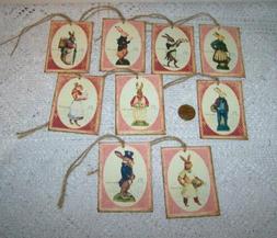 easter vintage bunny rabbits linen cardstock gift