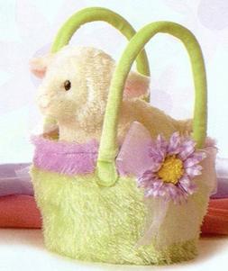 Aurora Fancy Pals Stuffed Plush Lamb Green purple Easter Bas
