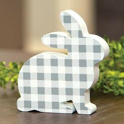 FARMHOUSE-COTTAGE-Easter Bunny Shelf Sitter-Gray & White Buf