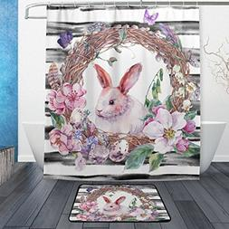 ALAZA Set of 2 Floral Rabbit Vintage Design 60 X 72 Inches S
